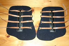 Shipping Boots Felt with 4 leather straps, NEW Navy Set of 2 Dimensions in Pics