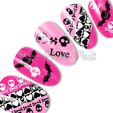 Nail Art Water Decals Transfers Stickers Punk Skulls Hearts Bats Halloween K264