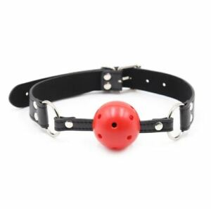 Bondage Restraint Oral Sex Harness Breathable Faux Leather Mouth Gag Ball in Red