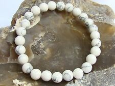 Men's Elastic Bracelet NATURAL Gemstone 8mm WHITE/CREAM TURQUOISE beads