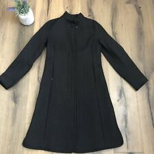 ALLEGRI Womens 42 Black Quilted Long Lightweight Jacket Coat Chic Made in Italy