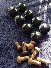 Vintage Antique Black Ceramic Drawer Pulls.