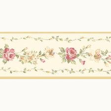 PP79454 - Pretty Prints 4 Blumen Beige Pink Creme Galerie Tapete Bordüre