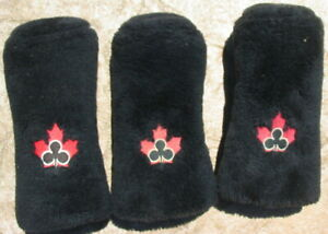 Set Vtg Fuzzy Black Canadian Club Whiskey Golf Club Cover Driver Sock 3 Wood Old