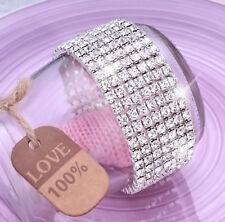 Ladies 7x Row Sparkly Crystal Rhinestone Bracelet Bangle For Women Bride Wedding