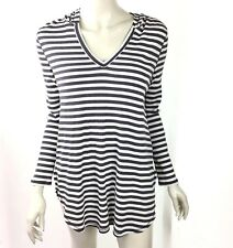 Olivia Sky Women Small Gray Striped Long Sleeve Sweat Shirt Hood Long Sleeve NWT