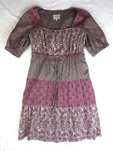 EUC Esprit Sz 6 Dress Purple Print Boho Hippie Luxe Gypset Tiered Tunic Casual