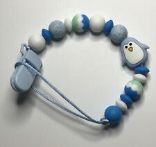 Baby Dummy Teething Chain Clipon Penguin Silicone Sensory POST FREE OZ SELLER
