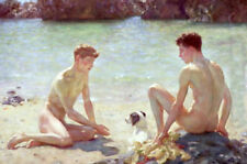 CHENPAT421 two young nude man bathing & dog art hand-painted oil painting canvas