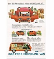 "1963 Ford Econoliine Panel Van ""More Loadspace, Loading Ease"" art Vtg Print Ad"