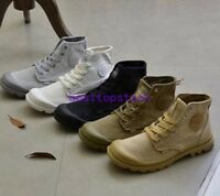 Mens Canvas Breathable Army Boots Hiking Outdoor Casual Shoes Round Toe High Top