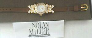 NOLAN MILLER SIM DIAMOND CRYSTAL BUTTERFLY WATCH BROWN LEATHER BAND NIB COA