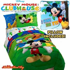 Disney MICKEY MOUSE CLUB HOUSE Green Comforter &Sham Set+Sheets Boy Bed In A Bag