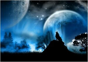 Fantasy Wolf Blue Moon At Night Animal Landscape Wall Art Poster/Canvas Picture