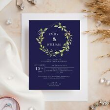 10 Wedding Invitations Day/Evening Navy with Leaves