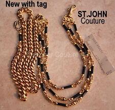 St John Couture NEW Black Enamel Swarovski Crystals Gold Link Belt Necklace