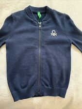 New United Colors of Benetton Cardigan Cotton Navy Blue 1-2Y Zip-up Nwt