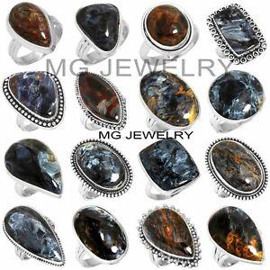 25 Pcs Lot Natural Pietersite Gemstone 925 Silver Plated Rings MAA282