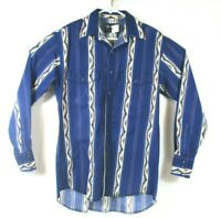 WRANGLER Western Wear Long Sleeve Snap Shirt Mens Blue Southwest Print Sz M
