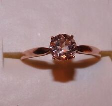 10KT 1.00 CTW STUNNING ROSE GOLD  COR-DE-ROSA MORGANITE SOLITAIRE RING SIZE 10.5