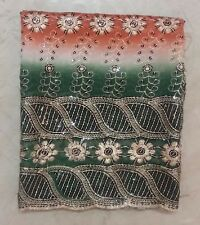 """Ethnic Indian Dupatta Scarf Sequins Beaded Embroidered Georgette Veil Stole L"""""""