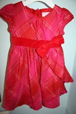 American Girl Bitty Baby Tartan Taffeta Dress Size 4 Red Pink Special Occasion