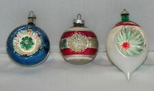 New Listinglot 3 vintage glass Christmas indent ornaments teardrop Shiny Brite snow