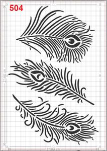 Big Peacock Feathers Stencil MYLAR A4 sheet strong reusable Wall Art Craft Deco