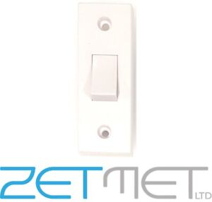 1 Gang 2 Way White Plastic Architrave Light Switch 10 Amp 240V Screw Covers