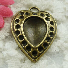 Free Ship 45 pieces bronze plated heart pendant 36x27mm #1826