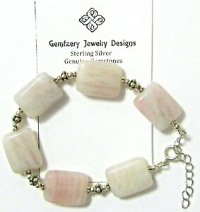 Sterling Silver Natural SAGE AMETHYST Gemstone Bead Bracelet...Handmade USA
