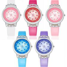 Kids children girls casual fashion floral PU leather strap quartz wrist watch