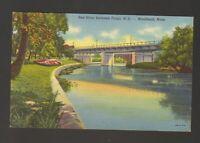 Unused Postcard Red River between Fargo ND and Moorhead Minnesota MN