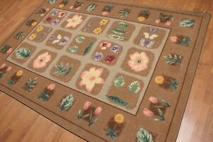 "5'6"" x 7'6"" Modern Floral Design 100% Nylon Full Pile Area Rug AOR8747 Tan"
