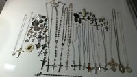 Vintage STERLING SILVER Religious Lot of Medals Pendant Necklaces Rosaries 405g