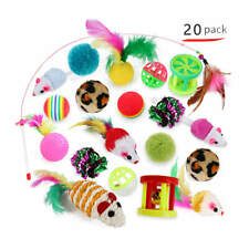 Assorted Cat Toys - 20 pack - mice bells balls feathers kitten toy stimulation