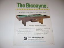 Rowe Biscayne Pool Table Arcade Original sales flyer brochure