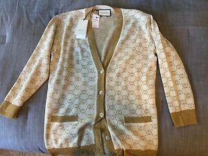 Gucci sweater women cardigan cream & gold metallic interlocking-G jacquard wool