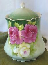 Antique Tirschenreuth Bavaria Cracker Biscuit Jar Handpainted Signed Pink Roses