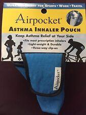 Lot of 3 Airpocket Asthma Inhaler Pouch-Blue