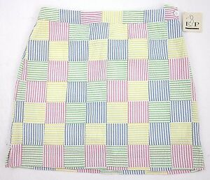 NWT! EP Pro Pastel Seersucker Patchwork Golf Skort Sz 12 Yellow Blue Green Pink