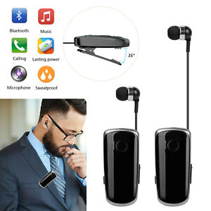 Bluetooth Headset Headphone Clip On Retractable Wireless Earpiece for SmartPhone