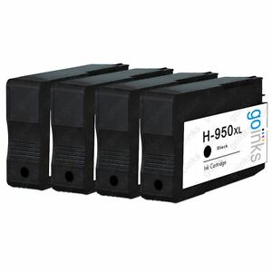 4 Black Ink Cartridges for HP Officejet Pro 276dw, 8600, 8610, 8620