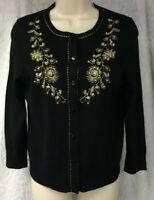 Ann Taylor Loft  Size M Cardigan Sweater Black Gold Metallic Floral Embroidered