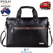 VICUNA POLO Leather Laptop Fashion Business Men Briefcase Bag Casual