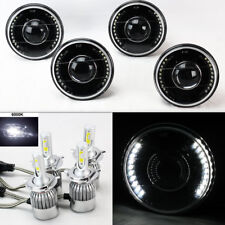 "FOUR 5.75"" 5 3/4 Round H4 Black Projector DRL Headlights w/ 36W LED H4 Bulbs"