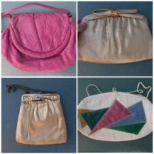 Vintage Purse Lot Coin Handbag Gold 1980s Clutch Mutlicolored Hot Pink Leather