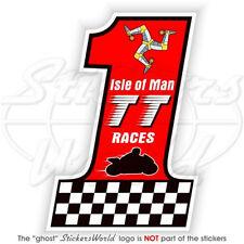 "ISLE of MAN TT Races Number 1 MANX Moto GP 4""(100mm) Bike-Helmet Sticker Decal"