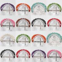 Women's Delicate Turquoise&Crystal Beads Sideway Crystal Cross Elastic Bracelet