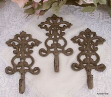 Set/3 Ornate Cast Iron Scroll Hooks Coat Rack Fleur Hook Brown